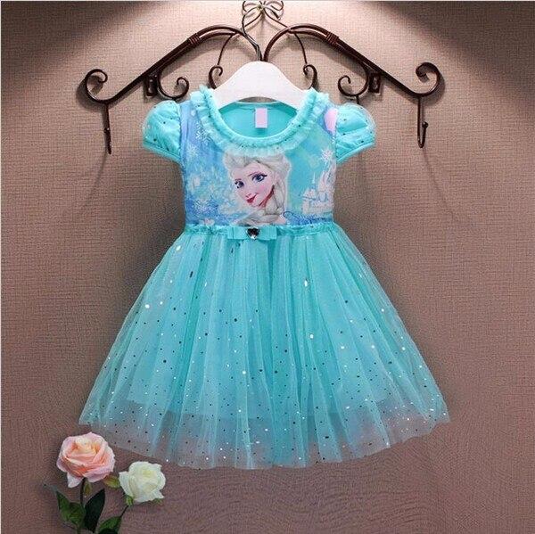 Платья для девочек летняя брендовая детская одежда для малышей платья принцесс Анны и Эльзы костюм героев мультфильма «Холодное сердце» дл...