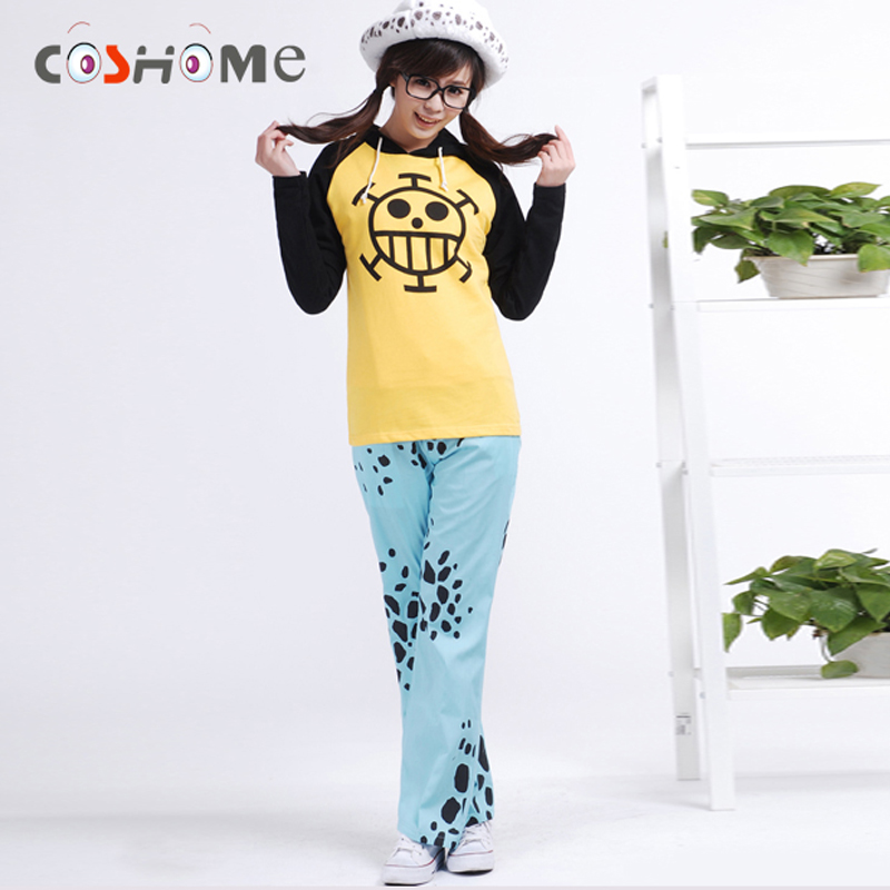 Coshome One Piece Trafalgar Law Cosplay Hoodies Costumes Coats Men Women Jackets Sportswears Tops Pants With Hats 3pcs Clothing