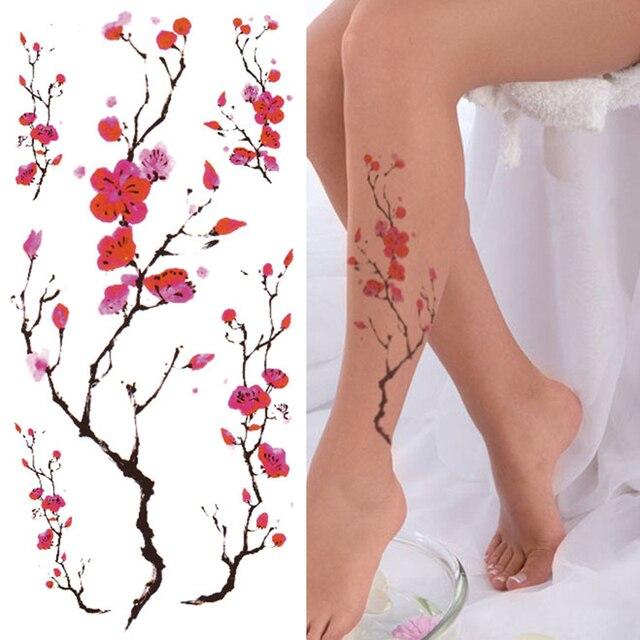 2Pcs 21x10cm Plum Flower Sexy Tattoo Stickers Waterproof Temporary Tattoos For Women Body Sticker Tattoo Arm Leg Body Art Tatto