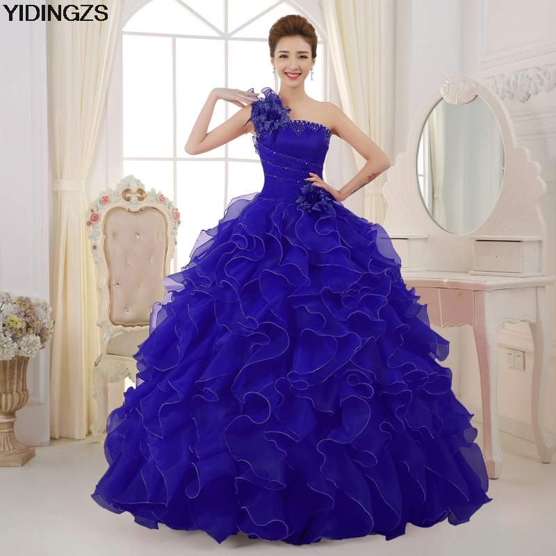 Romantic 2018 Colorful Organza A line Beading Ruched One Shoulder ...