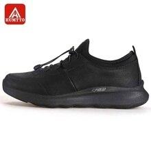 HUMTTO chaussures de course pour hommes en plein air respirant à lacets chaussures de Jogging vache fendu + tissu style de vie marche baskets