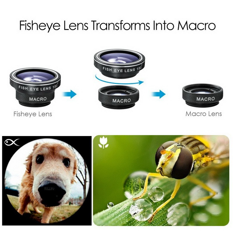 Universal Fish Eye 3in1 + Clip Fisheye Smartphone Camera Lens Wide Angle Macro Mobile Phone Lents blue as picture 11
