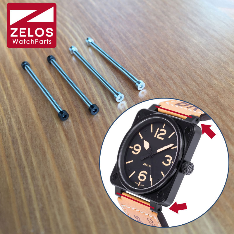 2pieces/set 34mm Inner Hexagon Watch Screw Tube Screw Ear Rod For Bell Ross AVIATION BR 01 Skull 46mm Watch  BR 01-92 AIRBORNE
