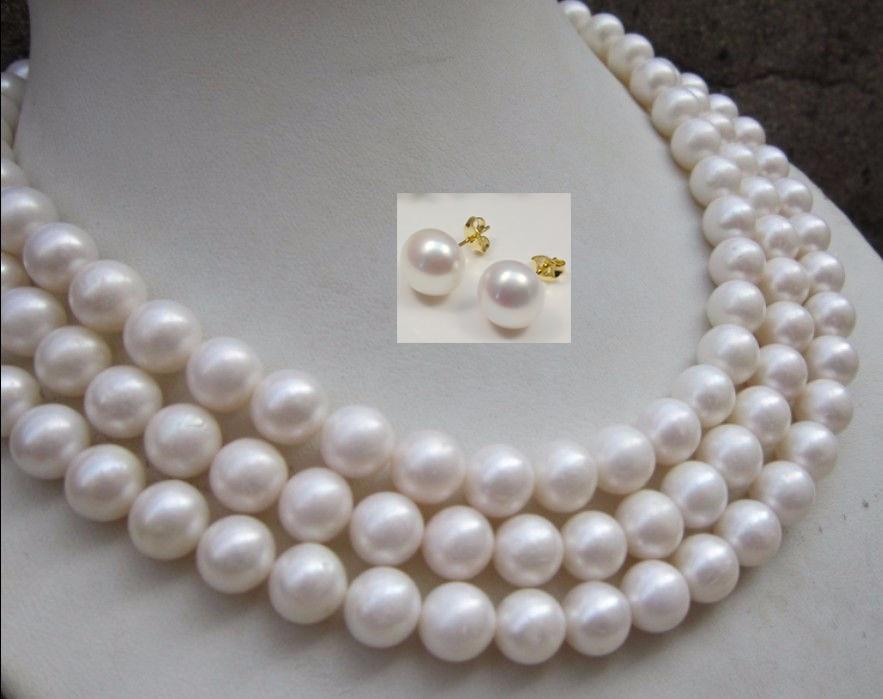 Femmes long collier boucle d'oreille ensemble naturel AAA + 10-11 MM parfait rond mer du sud collier de perles blanches 54 pouces perles bijoux