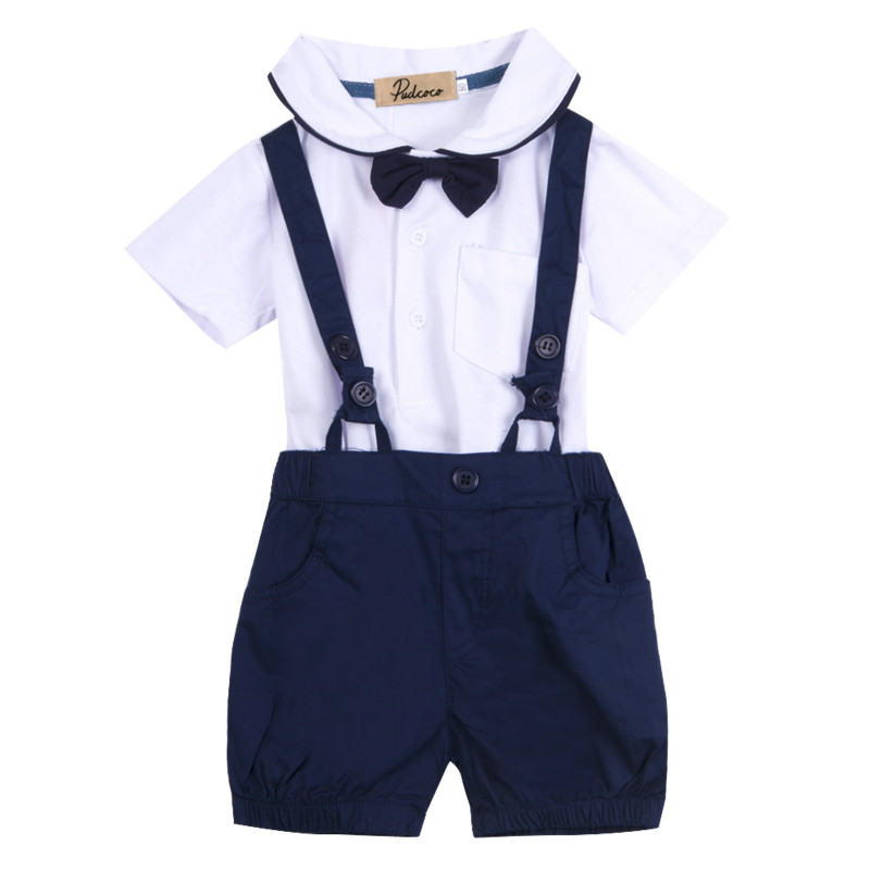 Fashion HOT selling Toddler Baby Kids Boys Outfits Bow Tie White T-shirt Cute Navy Blue Bib Short Pants Formal Brief Clothes Set 3pcs blue boys clothes suit beaded collar white blouse navy blue pants wedding vest and tie toddler boys clothing set