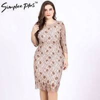 Simplee Plus Women Dresses Summer Elegant Plus Size O Neck Half Sleeve Flower Lace Bodycon Dress Party Midi Dress 2019 Fashion