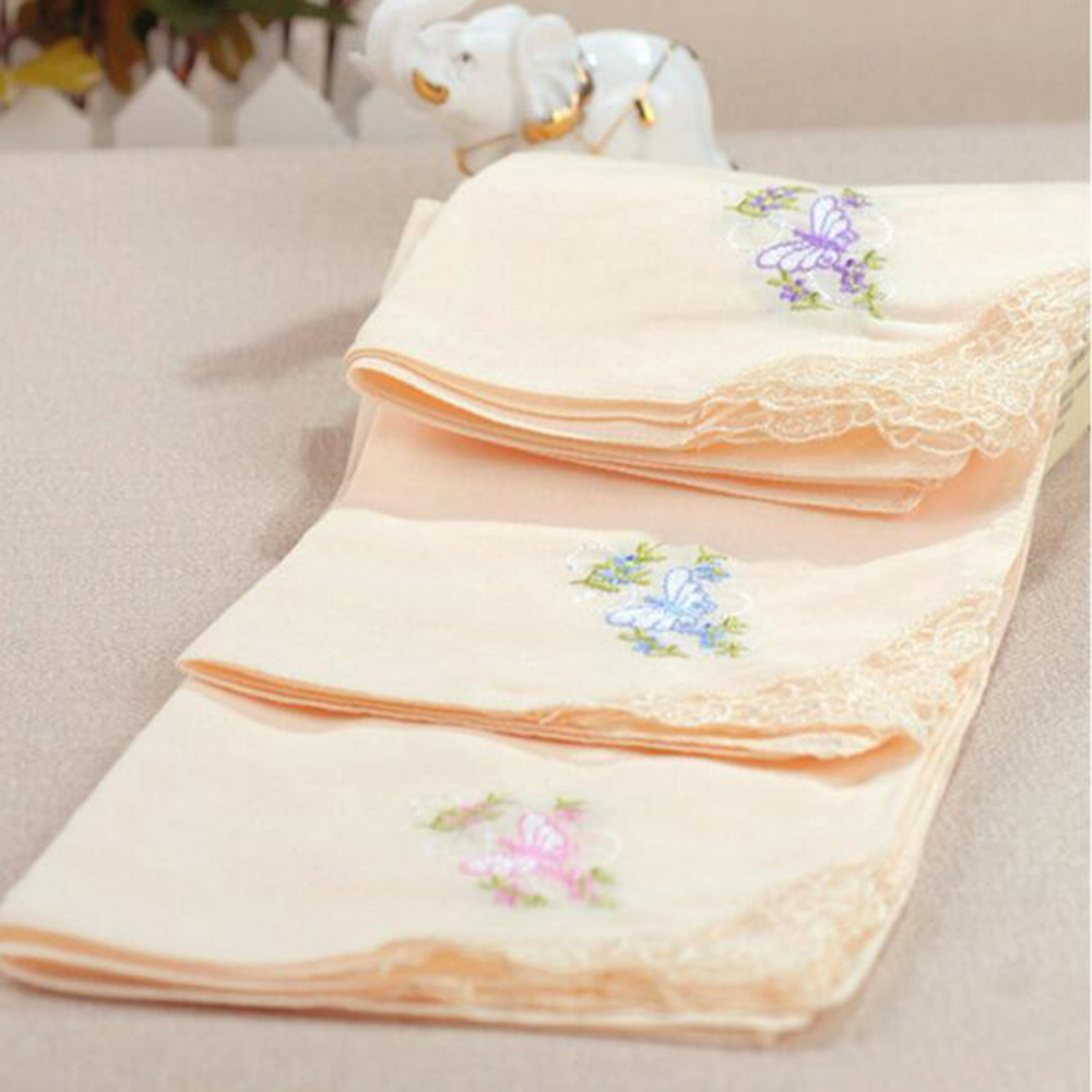 Handkerchief 12 Pcs Cotton Floral Embroidered Scarf Printed Lace Square Towel Women Children Scarf Towel Fashion Random Color