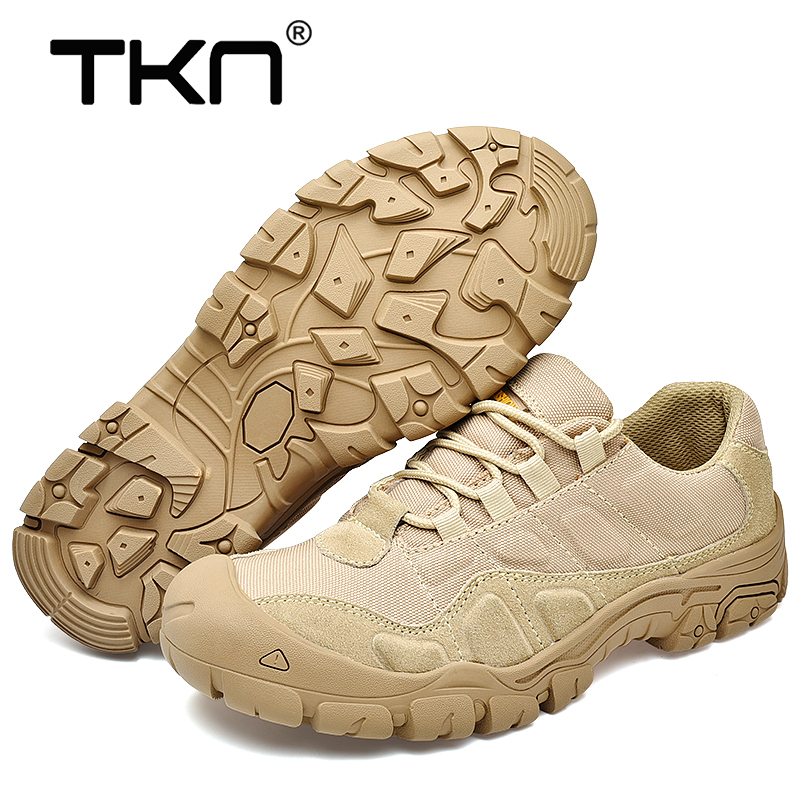 TKN Outdoor Men Hiking Shoes Waterproof Breathable Tactical Combat Army Boots Desert Training Sneakers Anti Slip Trekking Shoes
