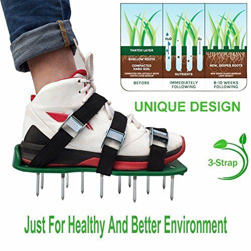 30 * 13cm Grass Spiked Gardening Walking Revitalizing Lawn Aerator Sandals Shoes 1 Pair (Green)