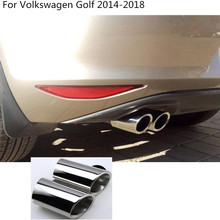Car Cover Styling Muffler Tail Pipe Dedicate Stainless Steel Exhaust Tip For Volkswagen VW Golf7 Golf 7 2014 2015 2016 2017 2018