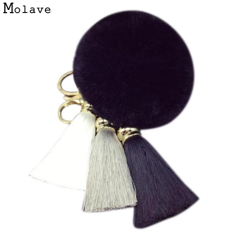 все цены на Naivety 1PC Cute Imitate Rabbit Fur Ball Tassel Ring Pendant For Bag 15S61101 drop shipping