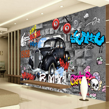 Customized mural large 3D  painting with colorful Dynamic Nostalgia box coffer room as background wallpaper in KTV public stage