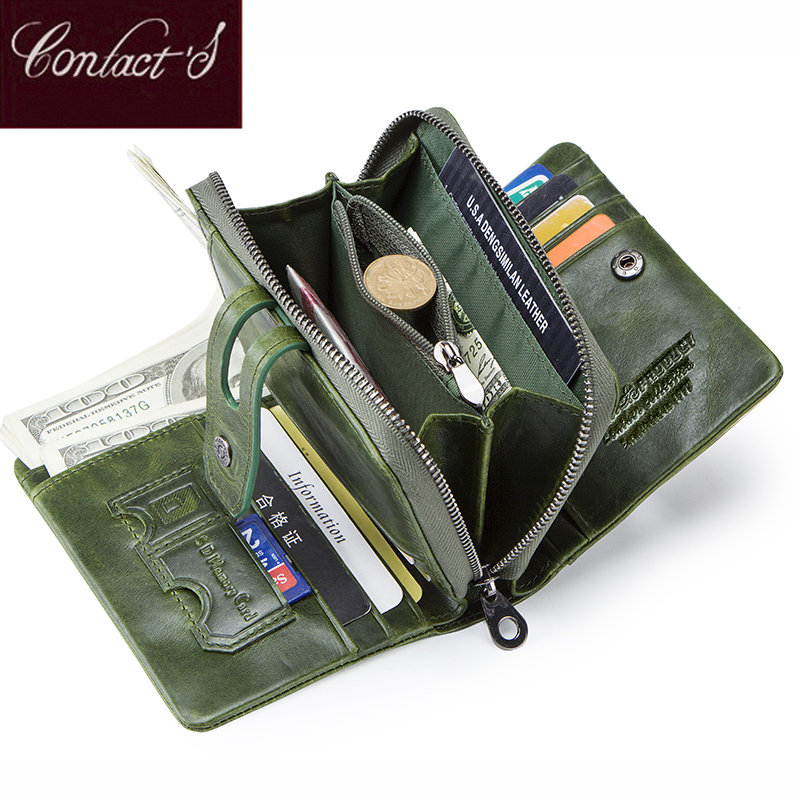 Contact's Wallet Women Zipper Genuine Leather Short Wallets Quality Coin Purse Women Hasp Button Purse With Credit Cards Holder