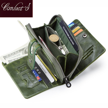 Contacts Wallet Women Zipper Genuine Leather Short Wallets Quality Coin Purse Women Hasp Button Purse With Credit Cards Holder