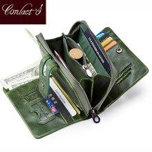 Portefeuille de Contact femmes fermeture éclair en cuir véritable portefeuilles courts qualité porte monnaie femmes moraillon bouton sac à main avec porte cartes de crédit