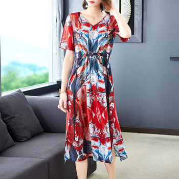 High-end Temperament Retro V Collar Short Sleeves Long Silk Dress