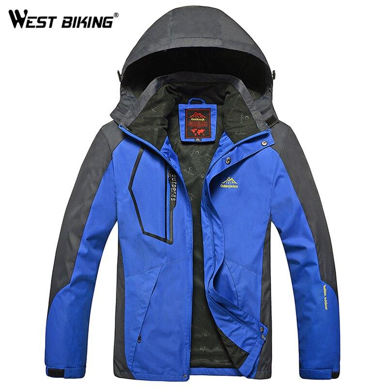 Запад biking Для мужчин зимние Водонепроницаемый ветрозащитная куртка с капюшоном Спорт на открытом воздухе теплые большой Размеры Пеший Туризм Велоспорт альпинизм куртка