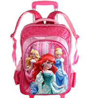 new stocked price good quality princes cars children trolly school bag trolley luggage backpack for boys and girls