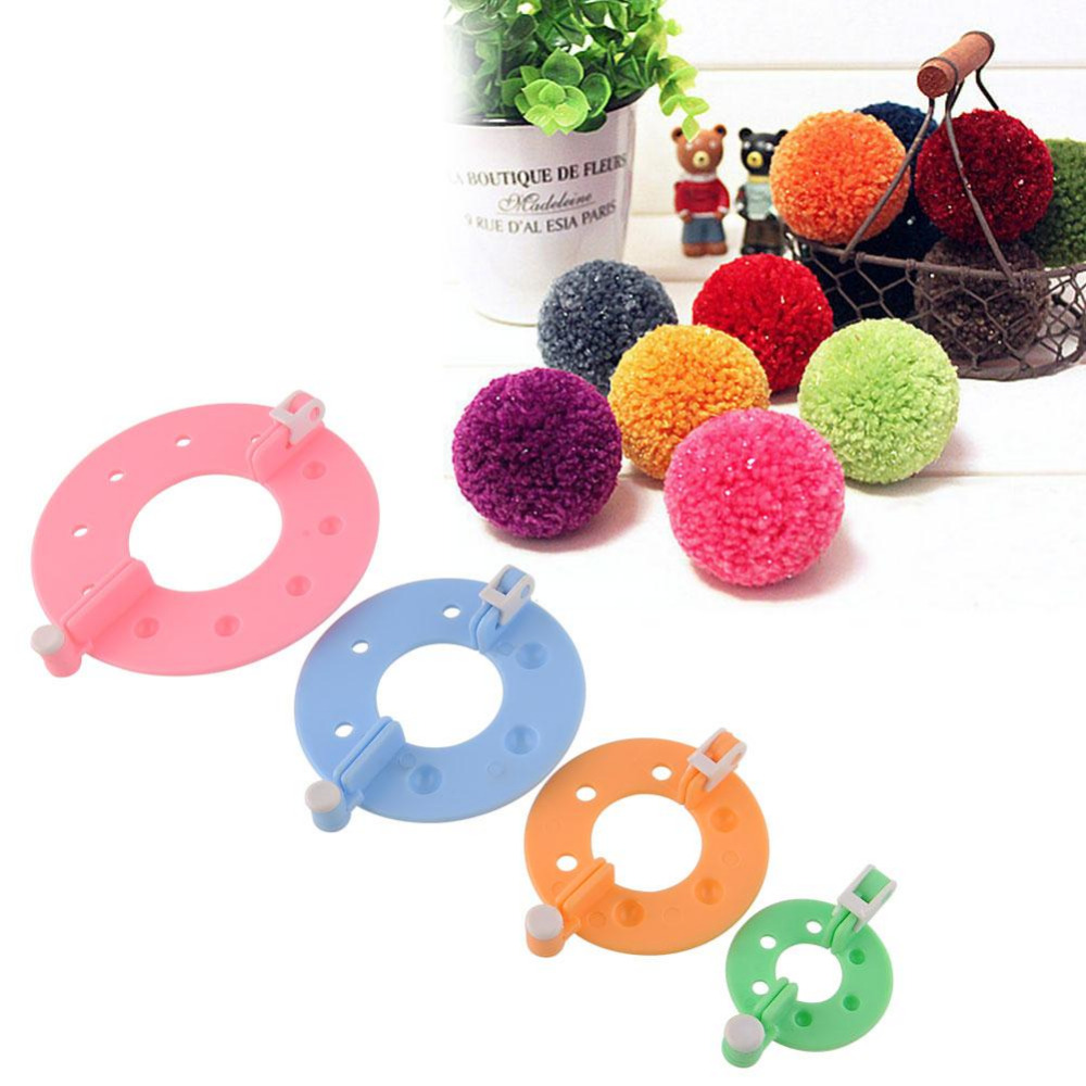 Hot Sale Useful DIY Tool 4 Sizes Fluff Ball Weaver PomPom Maker Knitting Kit Familily Kid DIY Needle Craft Set Freeshipping