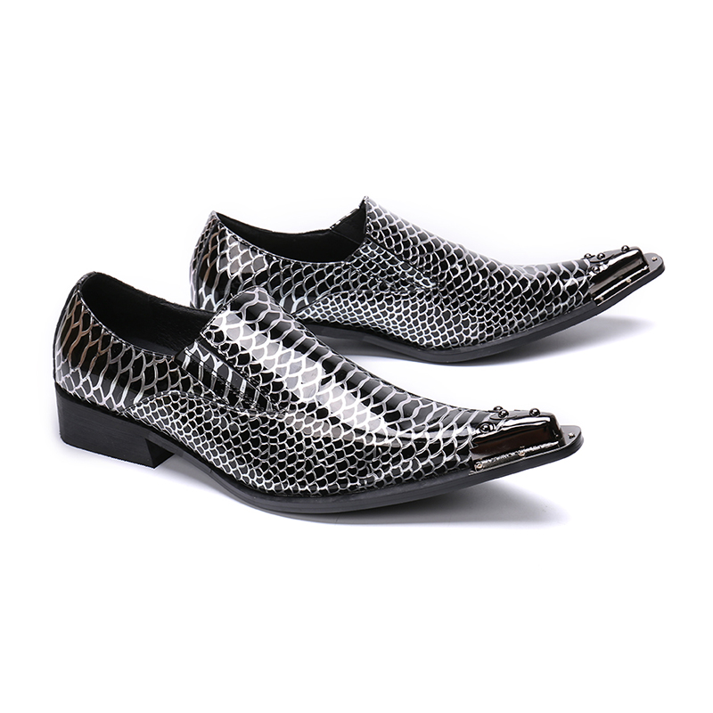 Mens Metal Pointed Toe Business Dress Shoes Men's Flats Oxfords Slip-On Printed Black Leather Mens Shoes Casual Chaussure Homme