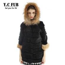 2016 Fashion Women Fur Jackets Winter Natural Rabbit Fur Coat With Raccoon Dog Fur Trims Hood Winter Fur Coats Female YC1105