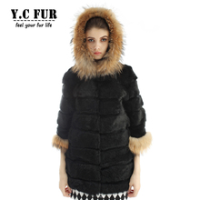 2016 Fashion Women Fur Jackets Winter Natural Rabbit Fur Coat With Raccoon Dog Fur Trims Hood Winter Fur Coats Female YC1105