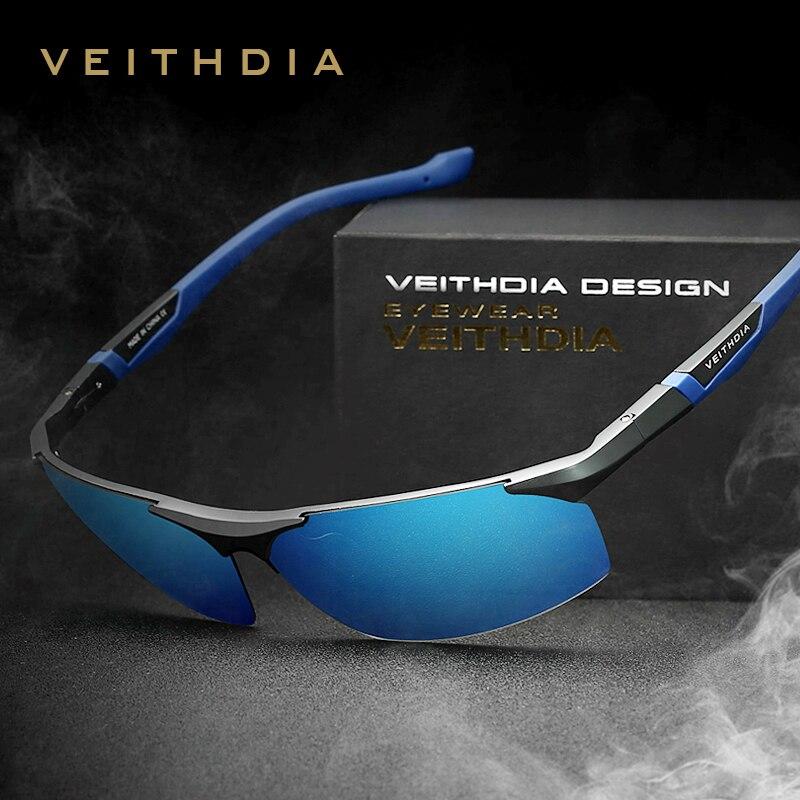 VEITHDIA Aluminium Magnesium männer Sonnenbrille Polarisierte Blaue Beschichtung Spiegel Sonnenbrille oculos Männlich Brillen Zubehör Männer 6589