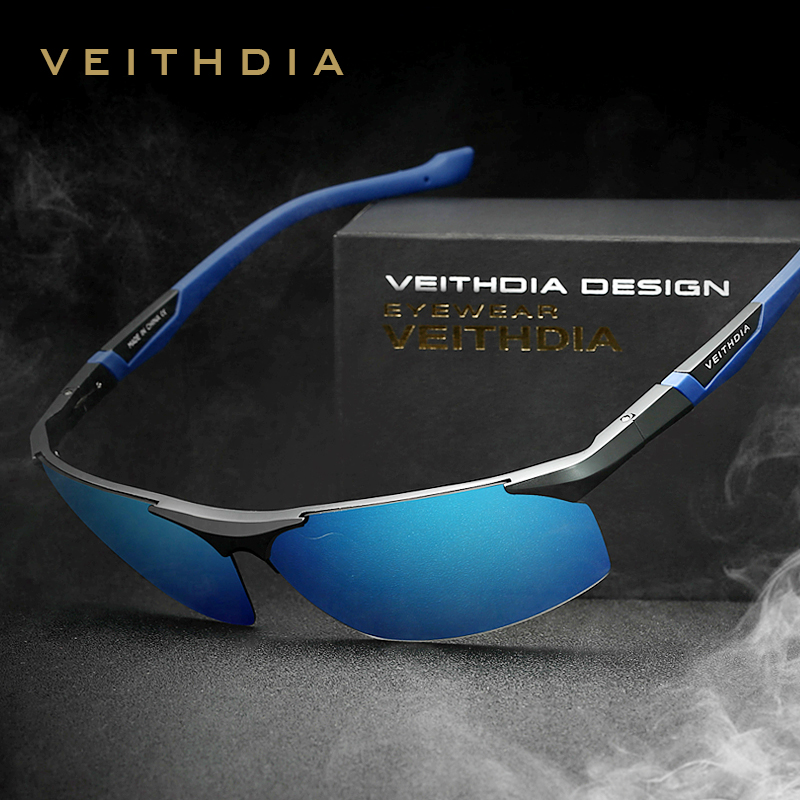 VEITHDIA Aluminium Magnesium Lelaki Sunglasses Polarized Blue Coating Mirror Sun Glasses oculos Male Eyewear Accessories Men 6589