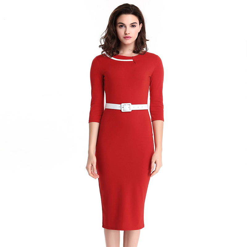 Red Dress With Belt Plus size Bodycon Slim Party Office Women three quarter dresses Business Elegant Noble Large size clothes
