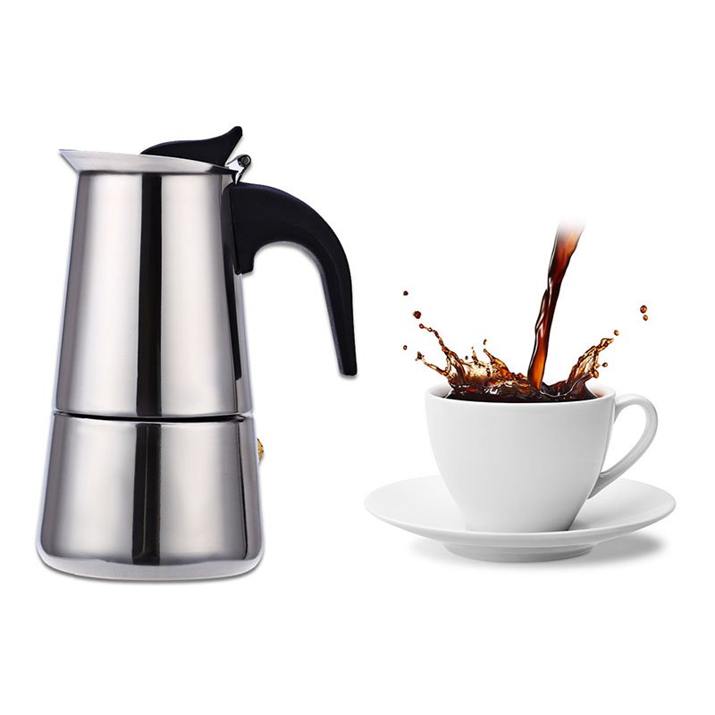 Classic Stainless Steel Coffee Percolator Moka Coffee Maker Mocha Espresso Latte Stovetop Filter Coffee Pot Percolator