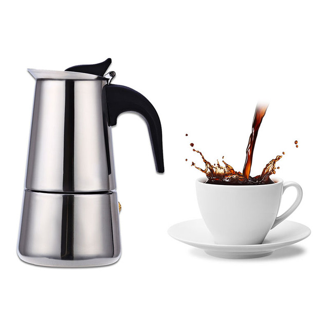 Clic Stainless Steel Coffee Percolator Moka Maker Mocha Espresso Latte Stovetop Filter Pot