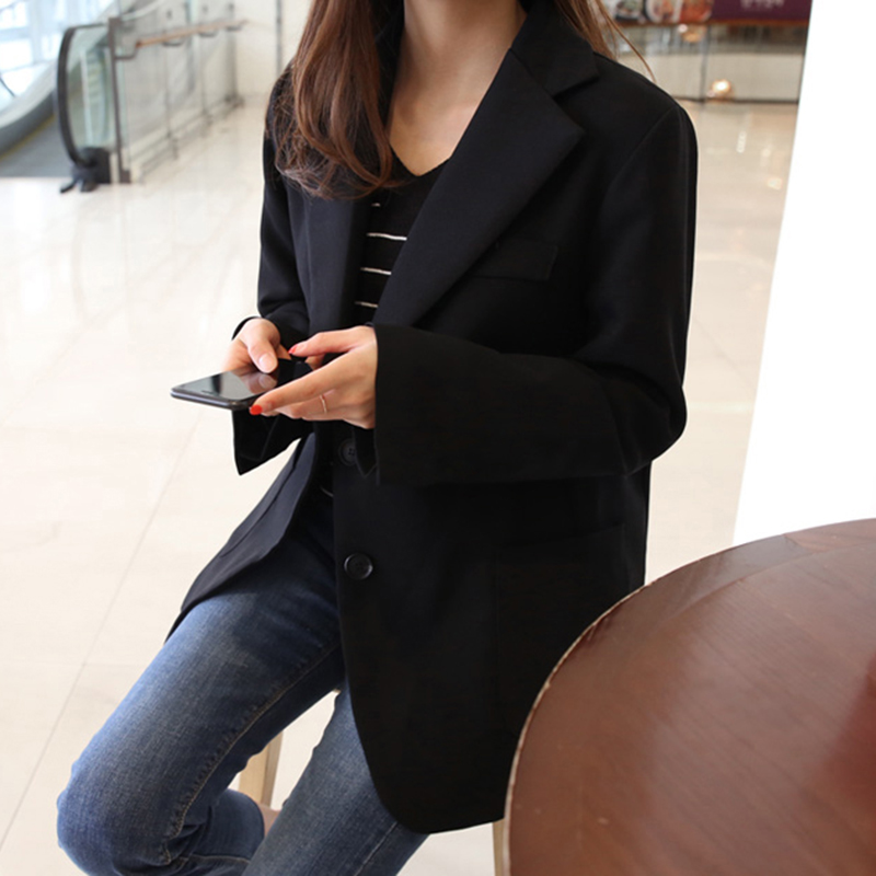 Women's small suit 2019 new autumn Korean version of the self-cultivation solid color long-sleeved suit jacket fashion shirt