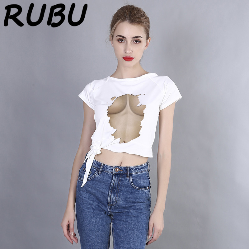 RUBU 2018 Summer Casual <font><b>T</b></font> <font><b>Shirt</b></font> Women White short sleeve Tshirt Printing <font><b>3D</b></font> Breast <font><b>Sexy</b></font> <font><b>T</b></font> <font><b>Shirt</b></font> Feminina Tee Tops 7VB161 image