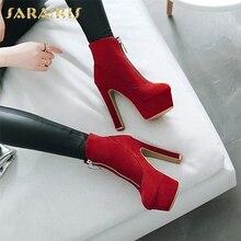 SARAIRIS 2018 plus size 34-47 hot sale zip up SEXY party boots Woman Shoes platform high heels ankle Boots women shoes woman