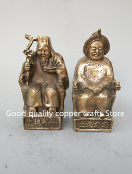 China's archaize brass  Land grandpa and land grandma A pair statue