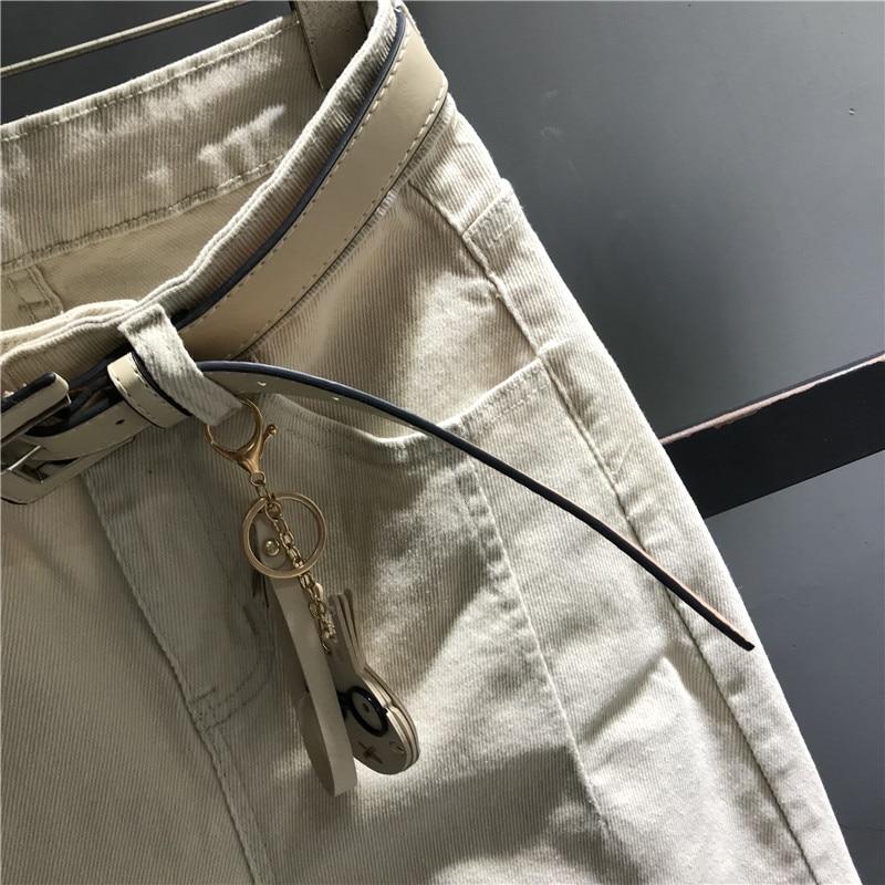 Dama Nueva Llegada Cremallera Mujer Blanca Alta Jeans Beige Slim Pantalones Cintura K450 Harem Vaqueros De Denim Casual 77UgB