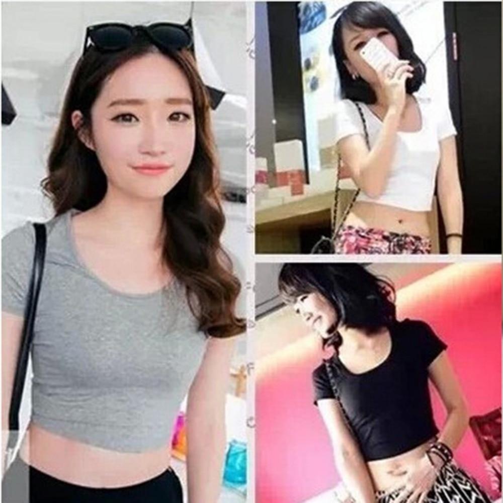 2018 New Women Best Sell U neck Sexy Crop Top Ladies Short Sleeve T Shirt Tee Short T-shirt Basic Stretch T-shirts