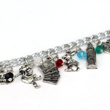 Alice in Wonderland Charm Bracelets&Bangles Fairy Tale Story Rabbit Hat Key Clock Red Crystal Beads Bracelet Fashion Women -25