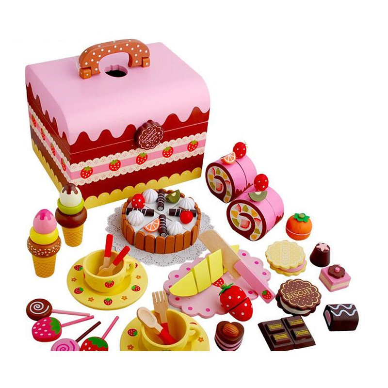 Wooden Strawberry Handmade Cake Sweet Princess Afternoon Tea Chocolate Party Children's Simulation Toy Birthday Gift 2015 hot sale limited 1 2 years tea gift packing qs health tea sweet gift set 40