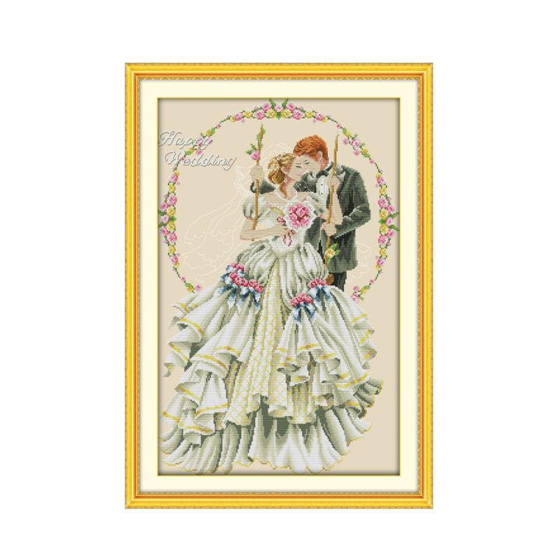 Bride and groom bride happy wedding romantic kiss warm screen handmade cross stitch suite wedding photos sewing embroidery