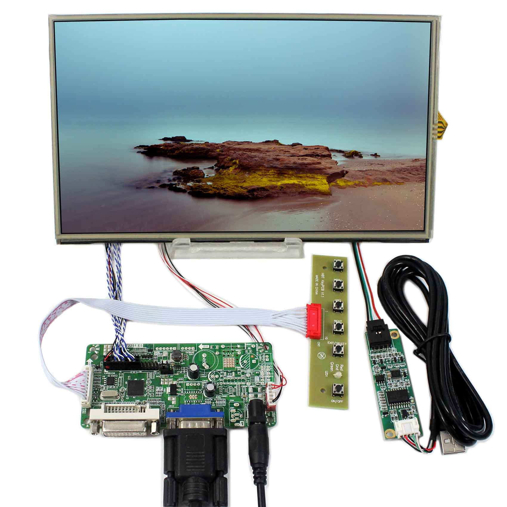DVI VGA Controller Board With 10.1inch 1366x768 B101XAN01 Touch LCD ScreenDVI VGA Controller Board With 10.1inch 1366x768 B101XAN01 Touch LCD Screen