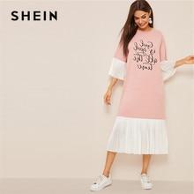 SHEIN Slogan Print Pleated Ruffle Hijab Summer Dress Women Casual Loose Flounce Sleeve Midi Dress Pink Half Sleeve Long Dress