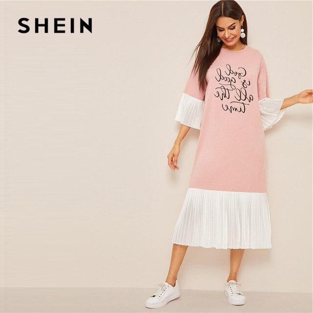 Shein slogan impressão plissado plissado hijab vestido de verão feminino casual solto flounce manga midi vestido rosa meia manga vestido longo