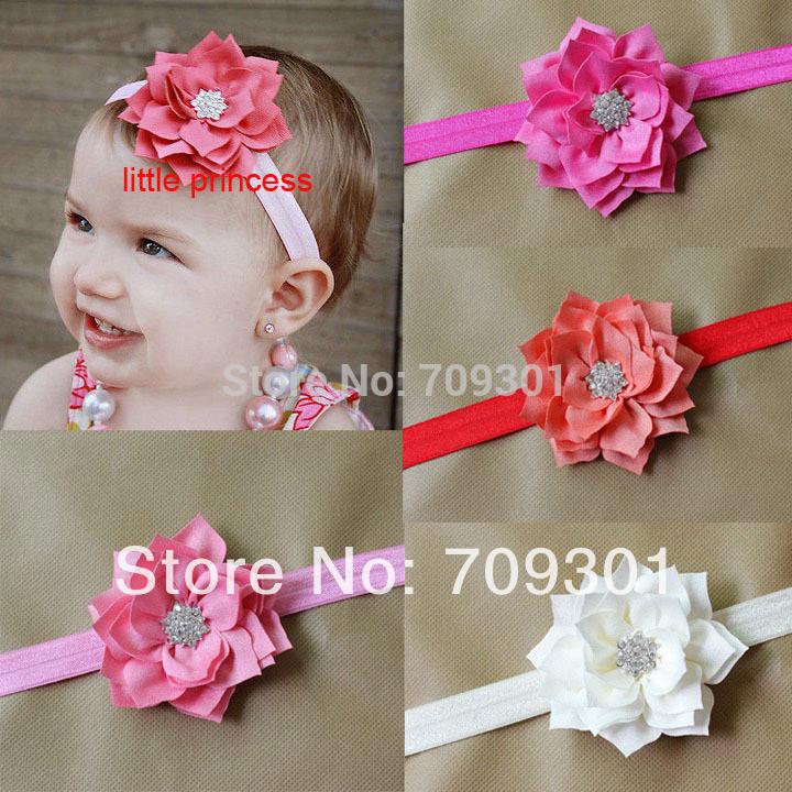 flores de tela de bandas para la cabeza con el botn en foe diademas para beb