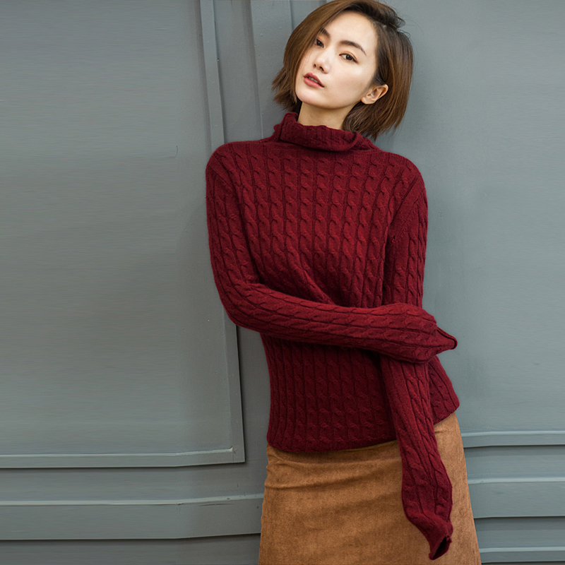 De Haut Black Dames Femmes Dernière khaki Mode 2018 Col Style white En Red Robe pink Chandail Pull Long Twist rust Cachemire q7ZABf0w