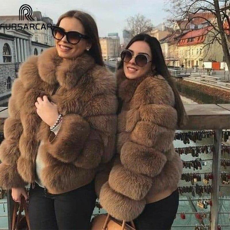 FURSARCAR Hiver Naturel Véritable Manteau De Fourrure De Renard 2018 Nouvelle Mode Fourrure Veste Épaisse Chaud Outwear 60 cm Femmes Réel Fourrure avec Col En Fourrure
