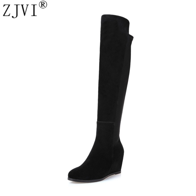ZJVI ladies fashion thigh high over the knee boots woman autumn winter womens female sexy nubuck suede leather women shoes womens lace up over knee high suede women snow boots fashion zipper round toe winter thigh high boots shoes woman