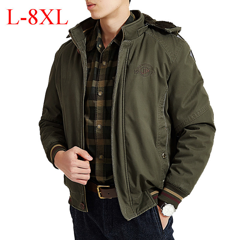 New AFS JEEP Brand Men's Winter Parka Embroidery Military Thick Warm Fleece Jacket Men Obesity Big & Tall Plus Size L-8XL