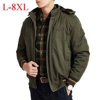 New AFS JEEP Brand Men's Winter Parka Embroidery Military Thick Warm Fleece Jacket Men obesity Big & Tall Plus Size L 8XL