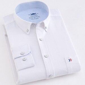 Image 4 - Chemise à manches longues pour homme, style décontracté en coton, avec poche frontale, coupe régulière, Oxford, bonne qualité, 2020